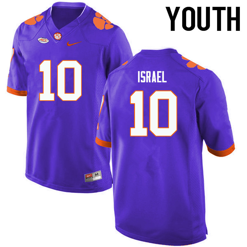 Youth Clemson Tigers #10 Tucker Israel College Football Jerseys-Purple